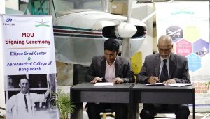 Mr. Mirza Shahriar Islam, one of the director of Ellipse Grad Center (Left) and Mr. Moslem Uddin, Principle of Aeronautical College of Bangladesh Right) is getting prepared for the agreement signing ceremony.