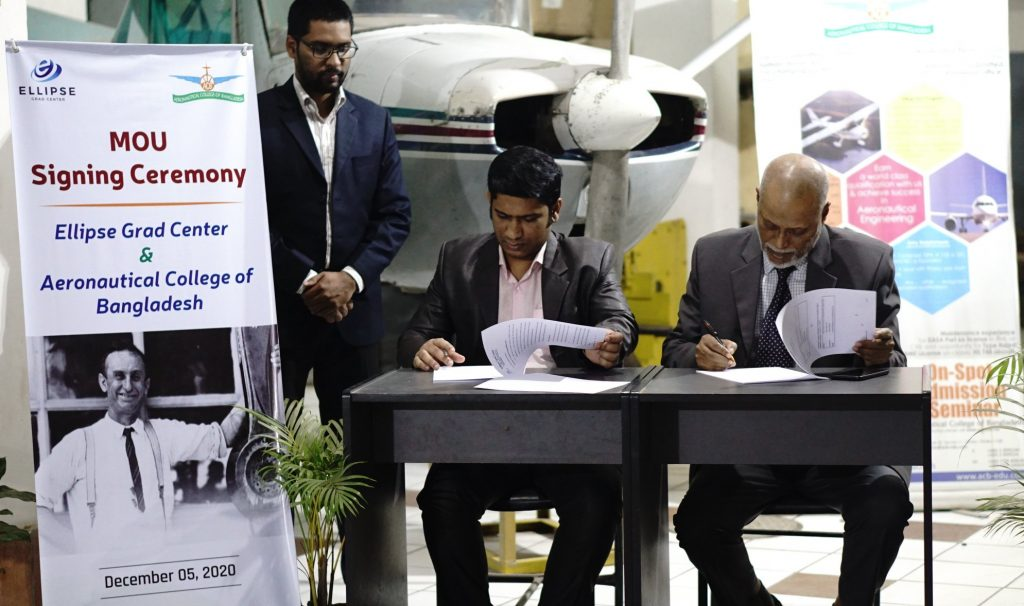 Mr. Mirza Shahriar Islam, one of the director of Ellipse Grad Center, and Mr. Moslem Udding, Principle of Aeronautical College of Bangladesh signing the agreement paper on behalf of their respective organization.